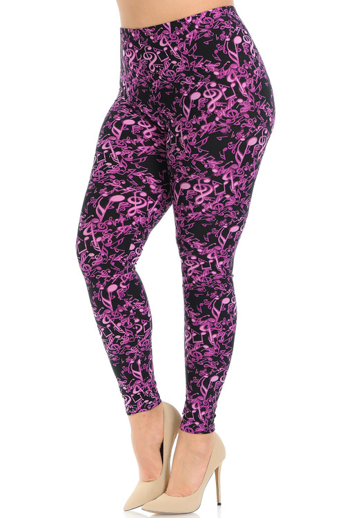 Wholesale Buttery Soft Electric Fuchsia Music Note Plus Size Leggings