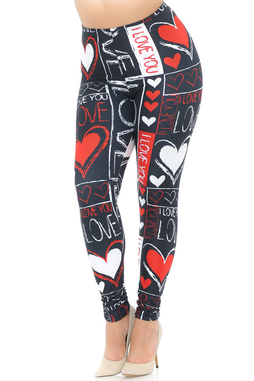 Wholesale Creamy Soft Heart and Love Extra Plus Size Leggings - USA Fashion™