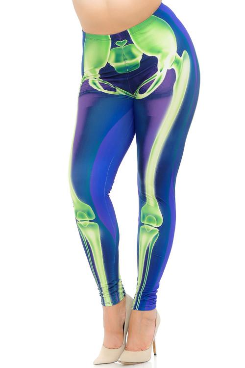 Wholesale Creamy Soft Chernobyl Skeleton Bones Extra Plus Size Leggings - 3X-5X - USA Fashion™