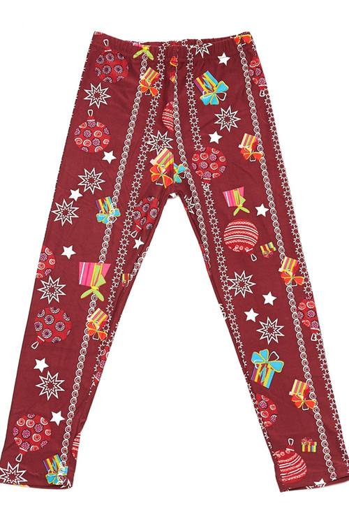 Wholesale Buttery Soft Burgundy Christmas Ornaments Kids Leggings