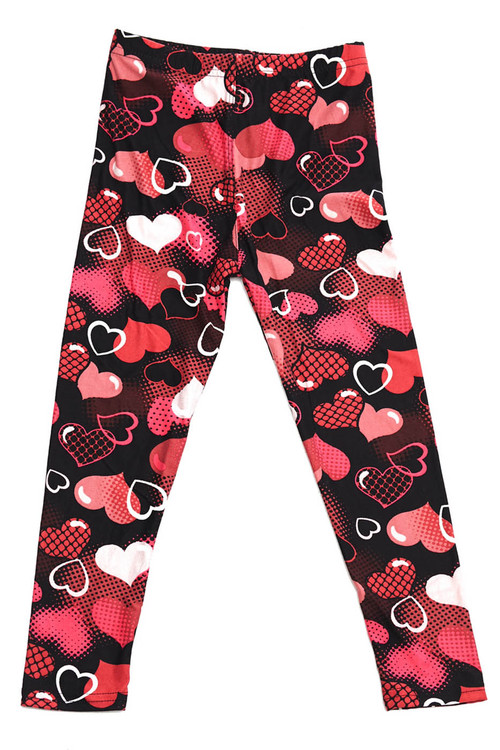 Wholesale Buttery Soft Valentine Hearts Kids Leggings