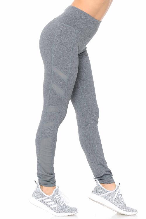 Wholesale Side Pocket Mesh High Waisted Sport Leggings