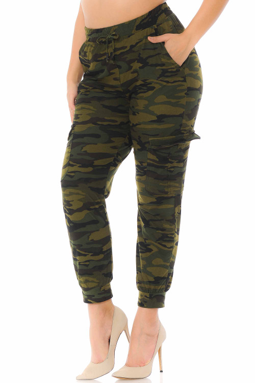 Wholesale Buttery Soft Green Camouflage Cargo Plus Size Joggers - New Mix
