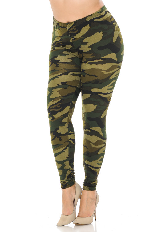 Wholesale Buttery Soft Green Camouflage Plus Size Leggings - EEVEE