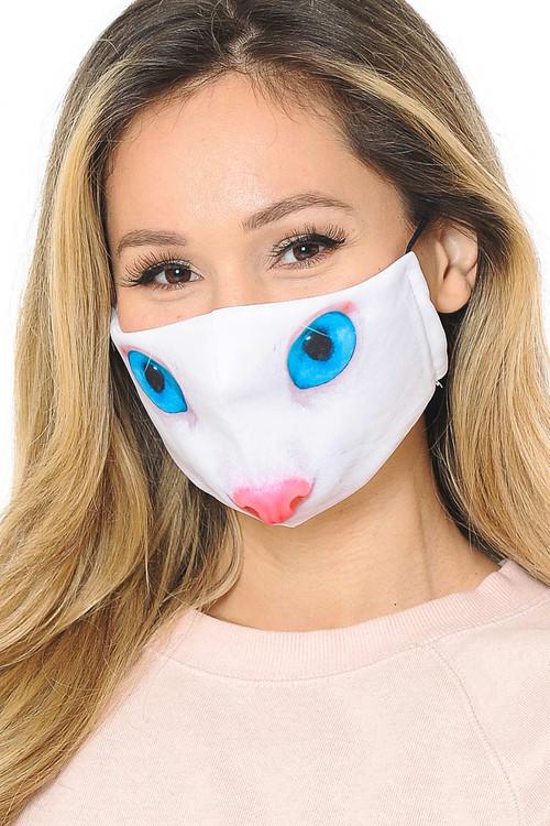 Blue Eye Kitty Cat Graphic Print Fashion Face Mask