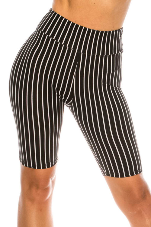 Wholesale Buttery Soft Black Pinstripe Biker Shorts - 3 Inch Waist Band