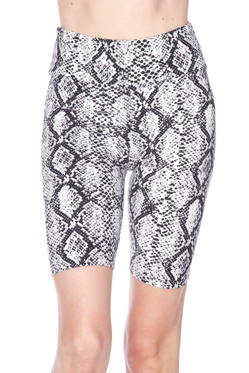Wholesale Buttery Soft White Snakeskin High Waist Plus Size Biker Shorts - 3 Inch Waist