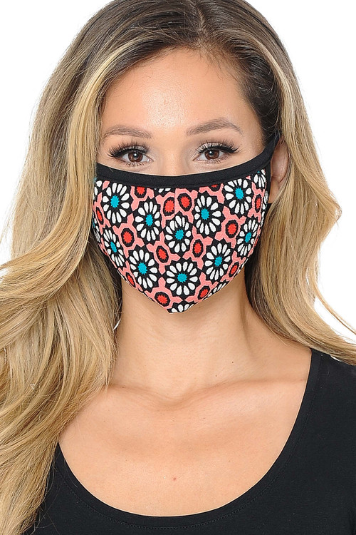 Wholesale Women's Groovy Floral Face Mask - Made in USA