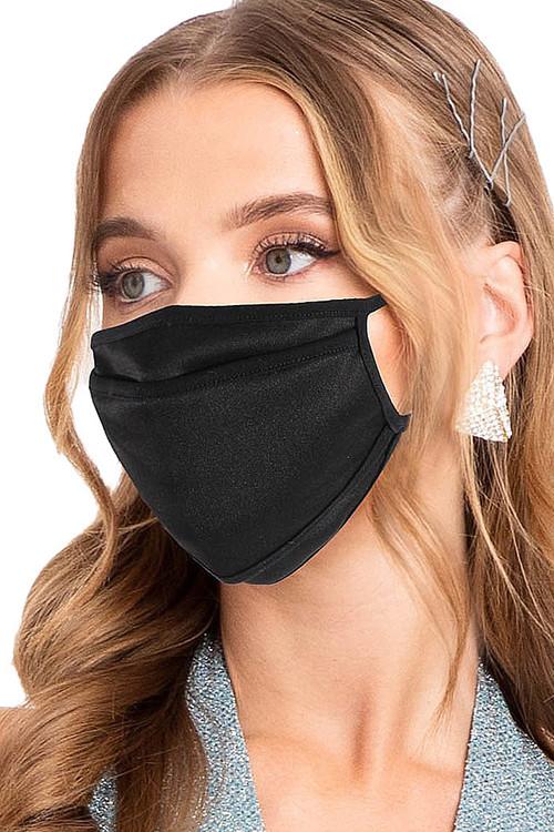 Wholesale Premium Tri-Fold Black Fashion Face Mask - Made in USA
