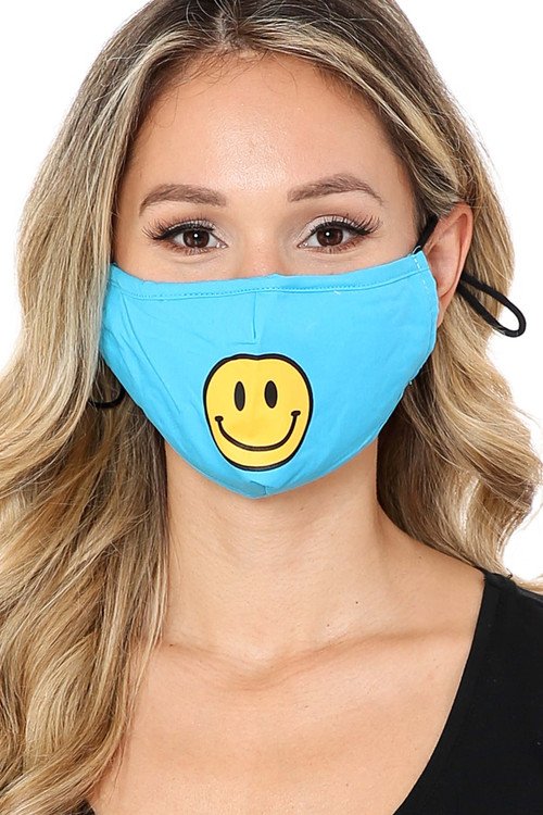 Front Wholesale Bright Blue Smiley Face Mask with Built In Filter and Nose Bar