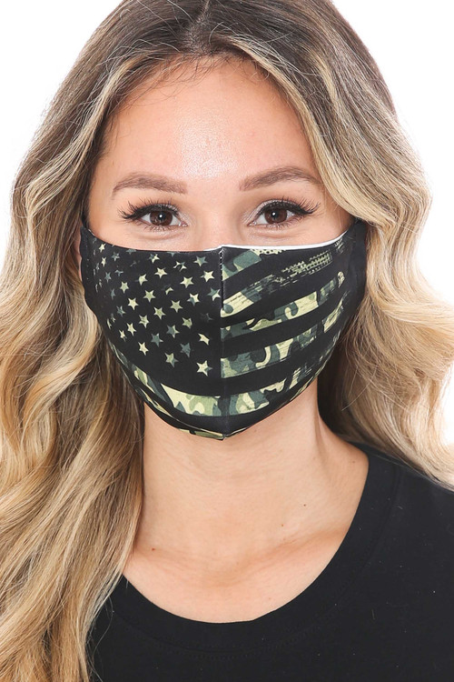 Wholesale Camouflage USA Flag Graphic Print Face Mask