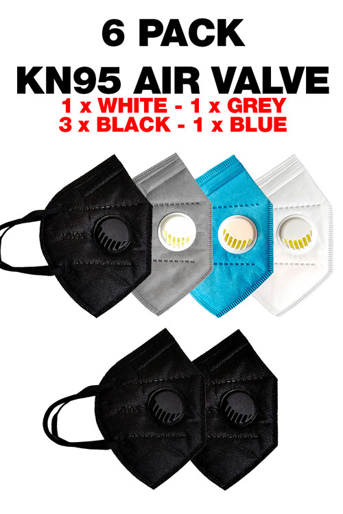 Wholesale 6 Pack KN95 Face Mask with Air Valve - Multi Color - Individually Wrapped