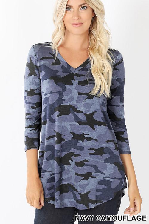 Wholesale Rayon Camouflage 3/4 Sleeve V-Neck & Hem Top