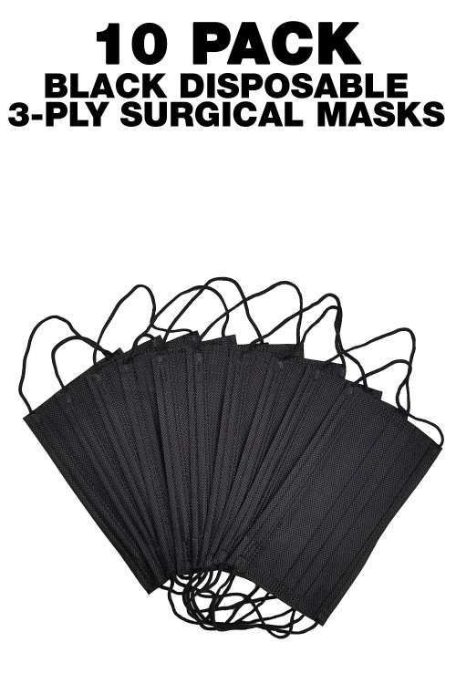 Wholesale Black Disposable Face Mask - 10 Pack - 3 Ply