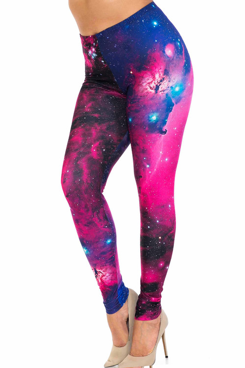 Wholesale Creamy Soft Fuchsia Galaxy Plus Size Leggings - USA Fashion™