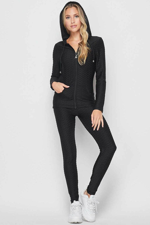 Wholesale 2 Piece Scrunch Butt Leggings and Hooded Jacket Set