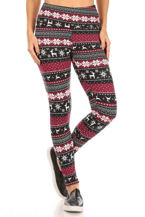 Wholesale Soft Fleece Beautiful Burgundy Reindeer and Snowflake Leggings