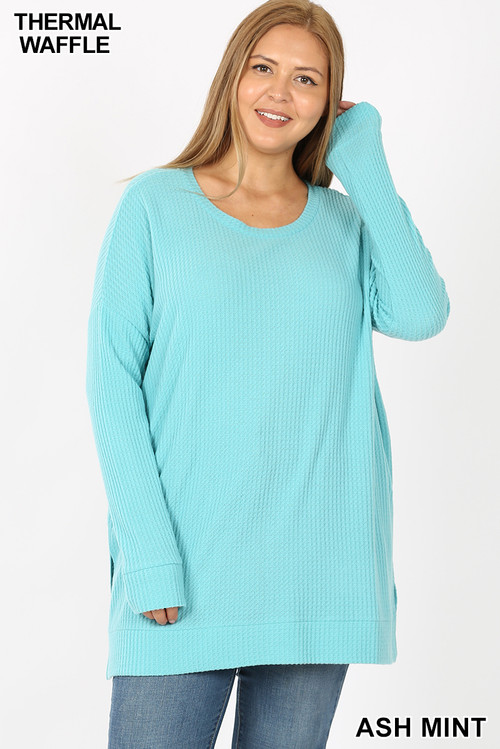 Front image of Ash Mint Wholesale Brushed Thermal Waffle Knit Round Neck Plus Size Top