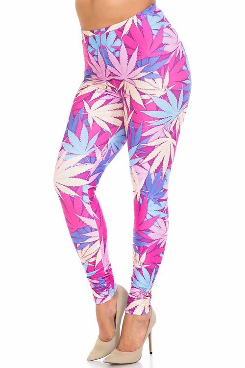 Wholesale Creamy Soft Pretty in Pink Marijuana Plus Size Leggings - USA Fashion™