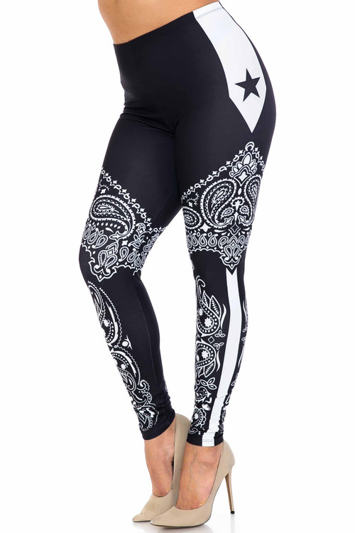 Wholesale Creamy Soft Bandana Stars Plus Size Leggings - USA Fashion™