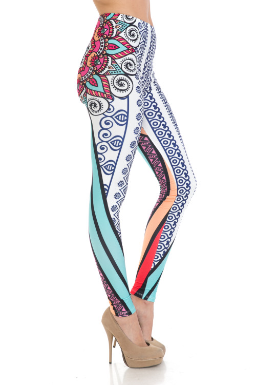 Wholesale Creamy Soft Sexy Vertical Contouring Mandala Plus Size Leggings - USA Fashion™