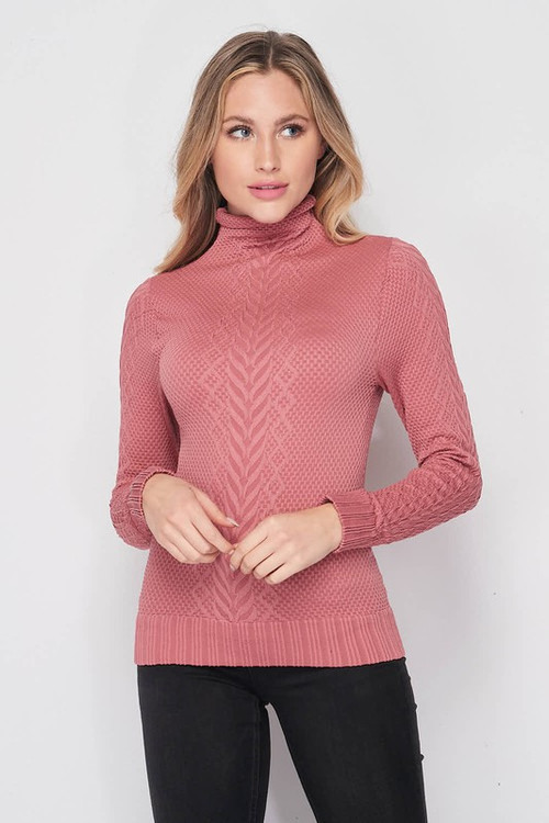 Front side image of Wholesale Seamless Fitted Mock Neck Cable Knit Top