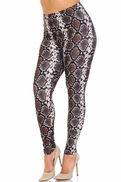 Wholesale Creamy Soft  Brown Boa Snake Plus Size Leggings - USA Fashion™