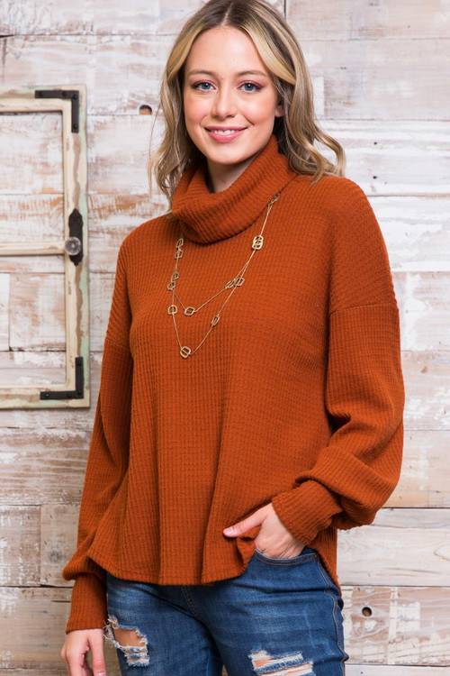 Rust Wholesale Waffle Knit Cowl Neck Long Sleeve Plus Size Top