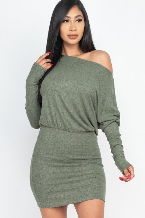 Wholesale Dolman Sleeve Brushed Knit Off the Shoulder Mini Dress