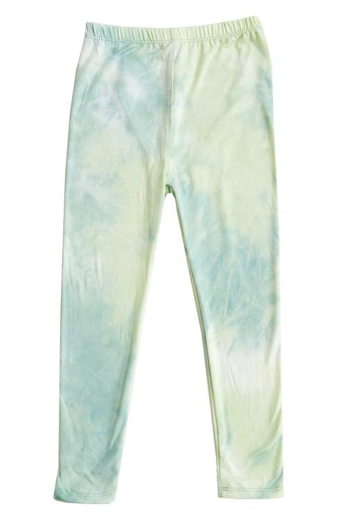 Wholesale Buttery Soft Mint Tie Dye Kids Leggings