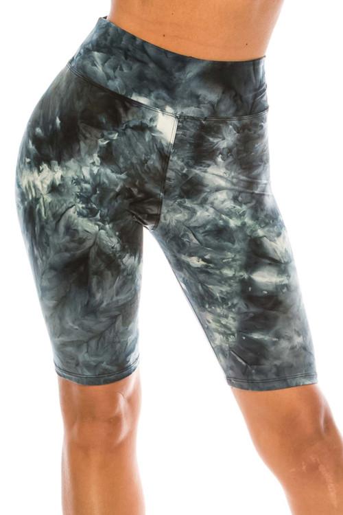Wholesale Buttery Soft Steel Blue Tie Dye High Waisted Plus Size Biker Shorts - 3 Inch Waist