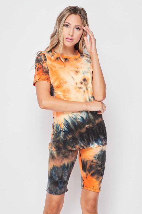 Wholesale 2 Piece Buttery Soft Orange Tie Dye Biker Shorts and T-Shirt Set - Plus Size