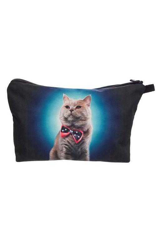 Wholesale Dapper Bow Tie Kitty Cat Graphic Print Makeup Bag