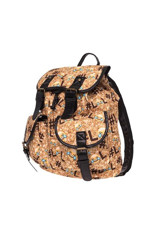 Wholesale LOL Emoji Sparkle Graphic Print Buckle Flap Backpack
