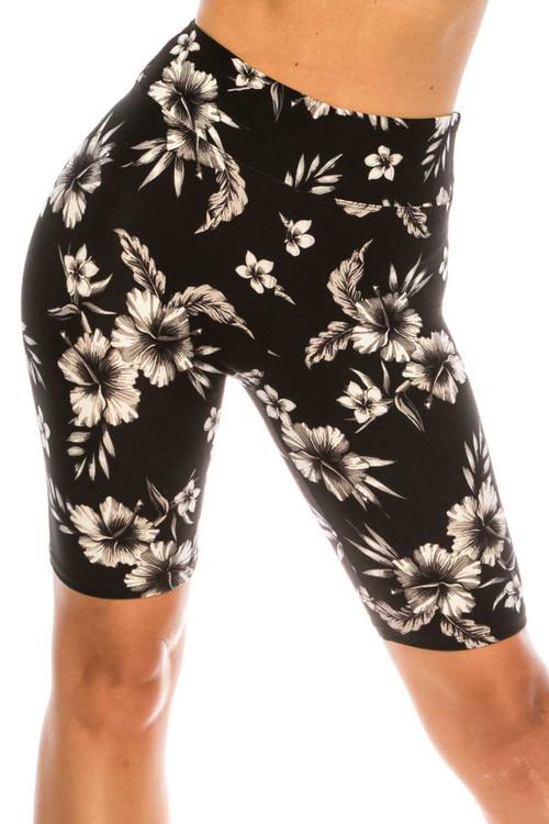 Wholesale Buttery Soft Monochrome Floral Biker Shorts - 3 Inch Waist Band