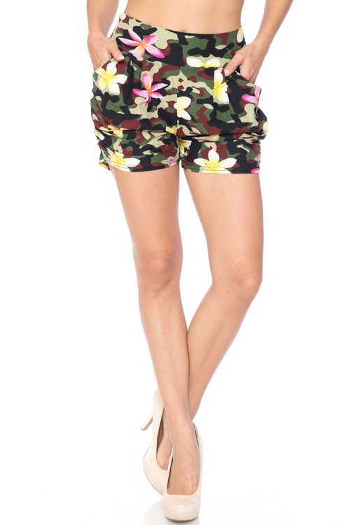 Wholesale Buttery Soft Summer Floral Camouflage Harem Shorts