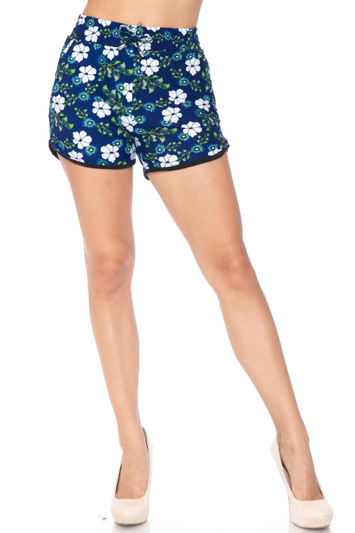 Wholesale Buttery Soft Summer Blue Floral Dolphin Shorts