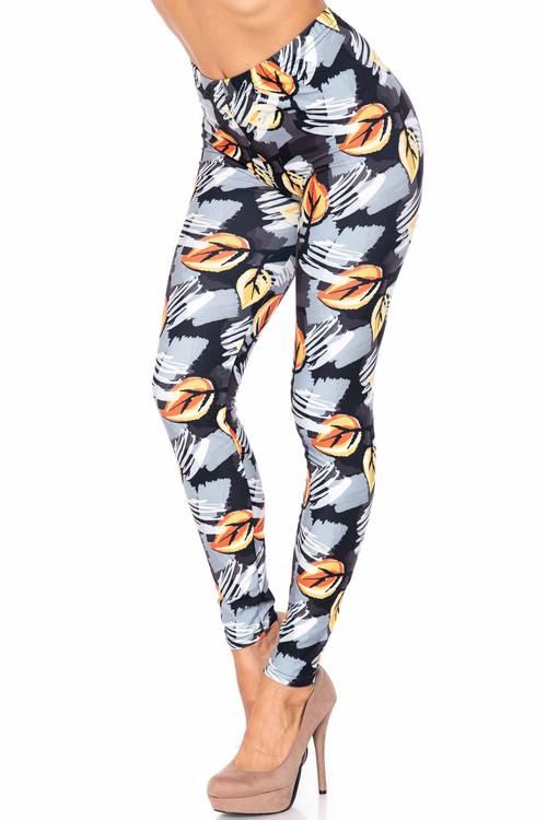 Wholesale Creamy Soft Orange Leaf Breeze Plus Size Leggings - USA Fashion™