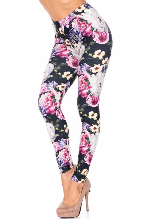 Wholesale Creamy Soft Floral Garden Bouquet Extra Plus Size Leggings - 3X-5X - USA Fashion™