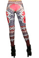 Back side image of Wholesale Graphic Print Red Steel Armor Leggings