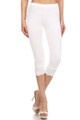 Front image of White Wholesale USA Cotton Capri with Lace Detail