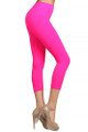 Right Side Image of Wholesale Capri Length Neon Nylon Spandex Leggings