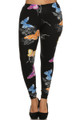 Front side image of Wholesale Buttery Soft Beautiful Butterfly Plus Size Leggings - 3X-5X