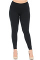 Black Wholesale Buttery Soft Basic Solid High Waisted Plus Size Leggings - 3X-5X - 5 Inch - Front Image