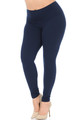 Navy Wholesale Buttery Soft Basic Solid High Waisted Plus Size Leggings - 3X-5X - 5 Inch