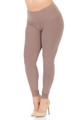 Mocha Wholesale Buttery Soft Basic Solid High Waisted Plus Size Leggings - 3X-5X - 5 Inch