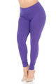 Purple Wholesale Buttery Soft Basic Solid High Waisted Plus Size Leggings - 3X-5X - 5 Inch