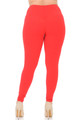 Red Wholesale Buttery Soft Basic Solid High Waisted Plus Size Leggings - 3X-5X - 5 Inch - Rear Image