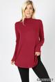 Wholesale Premium Long Sleeve Mock Neck Round Hem Top