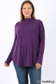 Wholesale Premium Long Sleeve Mock Neck Round Hem Plus Size Top